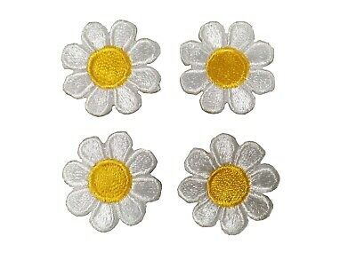 2987SW Lot 4Pcs 1 White Yellow  Daisy Flower Embroidery Iron On Applique Patch