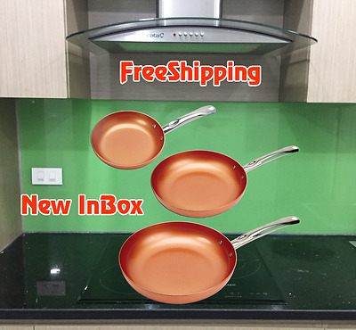 New INBOX Copper Chef 3 Piece Set includes 81012 round pans FREESHIPPING