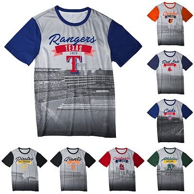 MLB Baseball Mens Outfield Photo Tee T Shirt - Choose Team