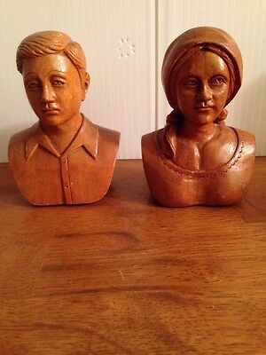 Beautiful Vintage Wooden Carved Busts Of A Man And A Woman