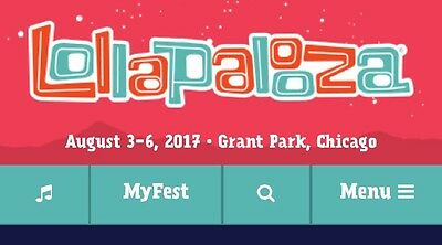 2 Lollapalooza 4 day VIP wristbands August 3-6 2017