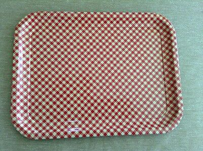 Vintage Red And White Checkered Enameled Metal Tray 13 34 X 10 12 B