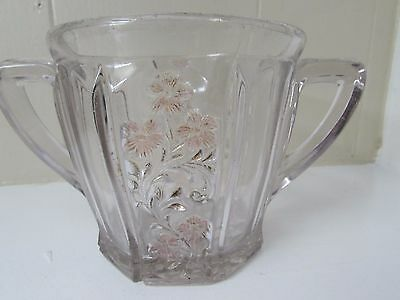 EAPG Indiana Glass Paneled Panelled Heather 126 open sugar bowl clear pink