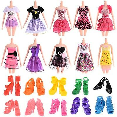 10pcs 11 Barbie Doll Clothes Handmade Wedding Dress Party Gown Outfits -