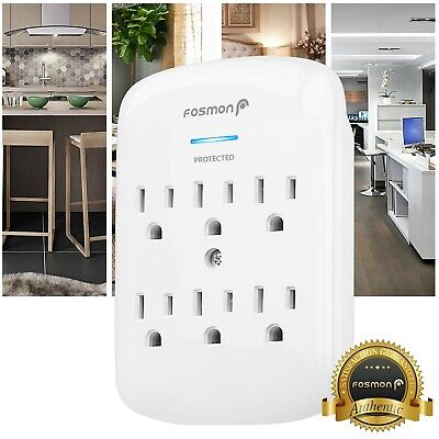 Fosmon 6 Outlet Surge Protector Multi Plug Wall Adapter Tap 1200J ETL Listed