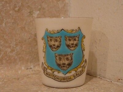 WH GOSS CRESTED CHINA WHITCHURCH CUP VASE SHOT GLASS GOSHAWK STAMP