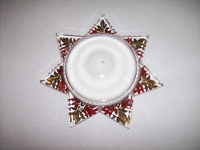 VINTAGE 6 POINT STAR GLASS MAGNIFIER PAPERWEIGHT