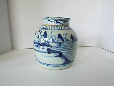 Antique Chinese Blue - White Earthenware Ginger Jar wlid Canton