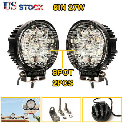 PAIR Cree LED 27W Work Light Spot Round LAMP Truck Lamp ATV Boat 4WD Offroad