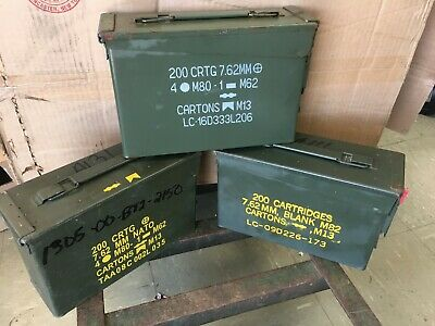 ONE - 30 Cal Ammo Can Army Military M19A1 Metal Storage Box 7-62 MM Free Ship