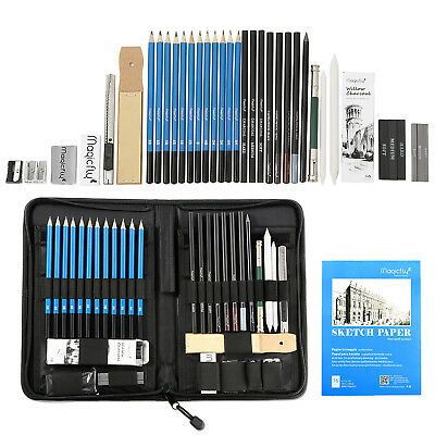 41pc Professional Drawing Artist Kit Set Pencils and Sketch Charcoal Art - Bag