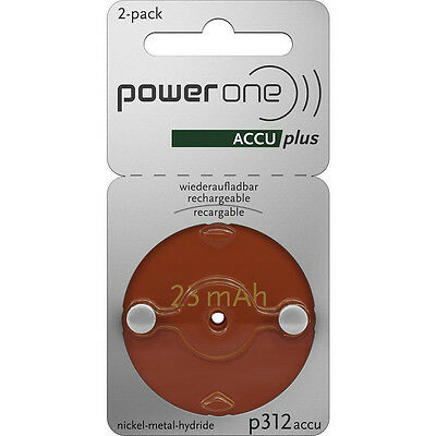 PowerOne ACCU plus Size 312 Rechargeable Hearing Aid Batteries - Exp- 2019