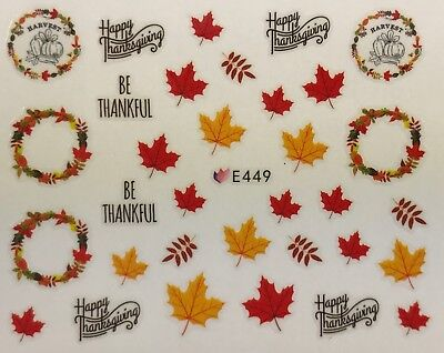 Nail Art 3D Decal Stickers Harvest Happy Thanksgiving Fall Leaves Wreath E449