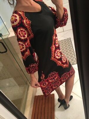 INC - NEW Long sleeve Red Black Paisley dress- Large Cocktail