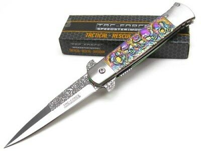 TAC-FORCE Rainbow SKULL Assisted Folding STILETTO Pocket Knife New TF-865RB
