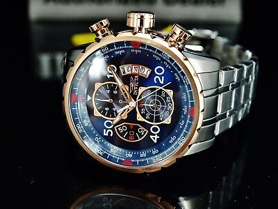Invicta Mens 48mm Aviator Chronograph Blue Dial 18K Rose Gold Plated SS Watch