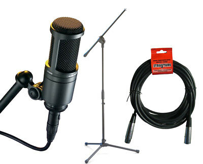 Audio-Technica AT2020 Cardioid Condenser Microphone - Mic Stand - 20 XLR Cable