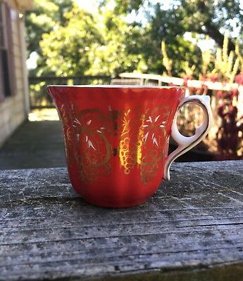 Royal Grafton Red Tea Cup w gold grapes made in England replacement teacup