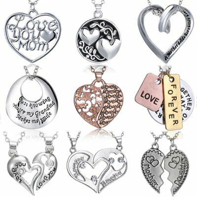 Mothers Day Gift Family Grandma Engraved Letters Love Pendant Necklace Jewelry