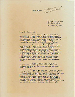 Reproduction of Amelia Earhart Letter to President Franklin D Roosevelt FDR