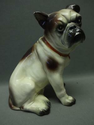Antique Porcelain Ceramic Boston Terrier Bull Dog Statue Stamped Germany Crown