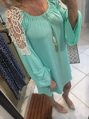2B Together Honeyme Tunic Dress Size Large Mint Green Nude Crochet