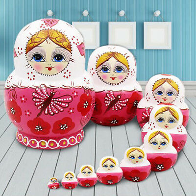 10 Wood Russian Matryoshka Nesting Dolls Hand Paint Gift Room Desk Decor Pink 6