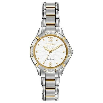 Citizen Eco-Drive Womens Diamond Accents Two-Tone 30mm Watch EM0454-52A