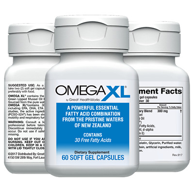 Omega XL 60 ct by Great HealthWorks Small Potent Joint Pain Relief - Omega-3
