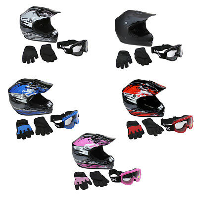 Lunatic Youth MX  ATV Helmet Goggles - Gloves - DOT Approved - Boys Girls Kids