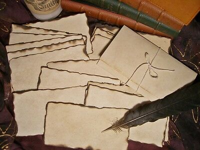 20 PARCHMENT PAPERS BURNED EDGES Spells-MESSAGE IN A BOTTLE-Halloween-Pirates
