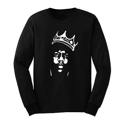 Mens Biggie Smalls Notorious B-I-G- Crown Long Sleeve Adult T-Shirts Men Tee
