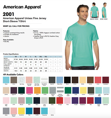 American Apparel TShirt 2001 Fine Crew Neck Cotton Tee Shirt FREE PUMA CAP OFFER