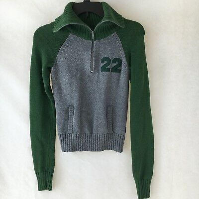 Boys Hollister Co Size Small Knit Pullover Sweater 14 Zip Gray Green Outerwear