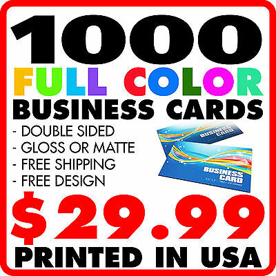 1000 CUSTOM FULL COLOR BUSINESS CARDS - FREE DESIGN FREE SHIPPING