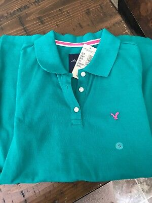 American Eagle Outfitters Womens Junior Small Polo Shirt Top NEW Teal Green