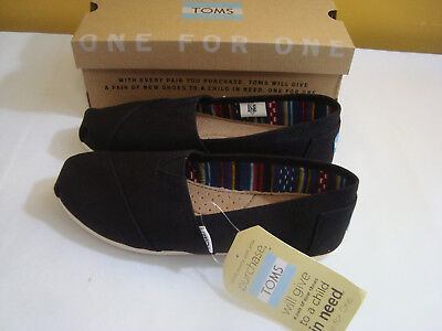 Toms Womens Shoes Flats Walking Casual Black Slip On Fabric Sz 6-5 NEW
