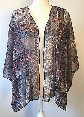 One Size WET SEAL Purple Sleeveless Sheer Floral Boho Shawl w Gold Threads