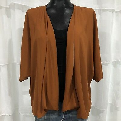 LARGE - FOREVER 21 Clay Rust Brown Kimono Cardigan Blouse Top