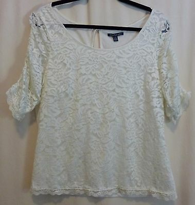 American Eagle Outfitters Cream L Rouched Lace Half Sleeve Lace Front Knit Top