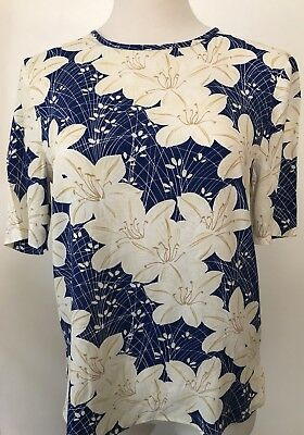 Zara Collection Blue With White Flowers Button Up Back Top XS