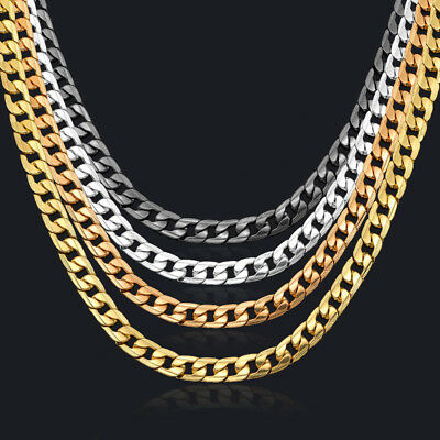 Curb Chain Necklace for men 24 10mm BlackSilverRose18K Gold Plated Cuban