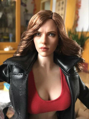 US 16 Scarlett Johansson Black Widow Gold Curls Female Head Sculpt F 12 Body