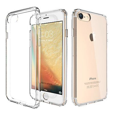 New For Apple iPhone 8 7 Hard Clear Case Bumper TPU Protective Shockproof Cover