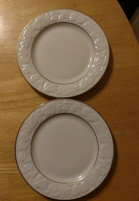Lenox Fruits of Life Bread and Butter Plates Ivory Embossed Fruit Gold Rim TWO