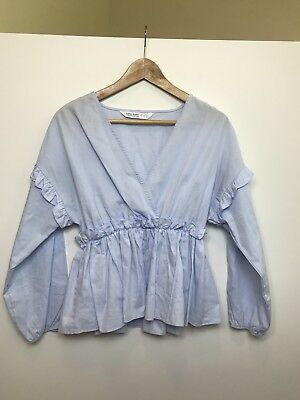 Zara basic Z1975 denim blue long sleeve top blouse Size S