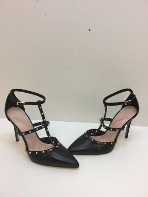 ALDO Black Leather Studded Pointy Toe Strappy Ankle Strap Heels Womens Size 7-5