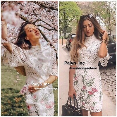 NWT ZARA SS18 OFF-WHITE FLORAL EMBROIDERED LACE DRESS CROCHET 2731046-XS S M