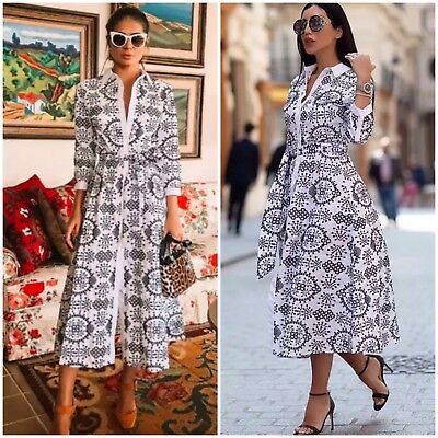 NWT ZARA SS18 LONG TUNIC SHIRT DRESS WITH CONTRASTING EMBROIDERY 4786084-XS-XL