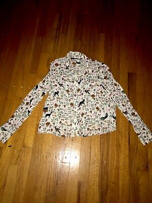 Zara Trafaluc Womens Graphic Print Long Sleeve Cropped Button Down Shirt Size M